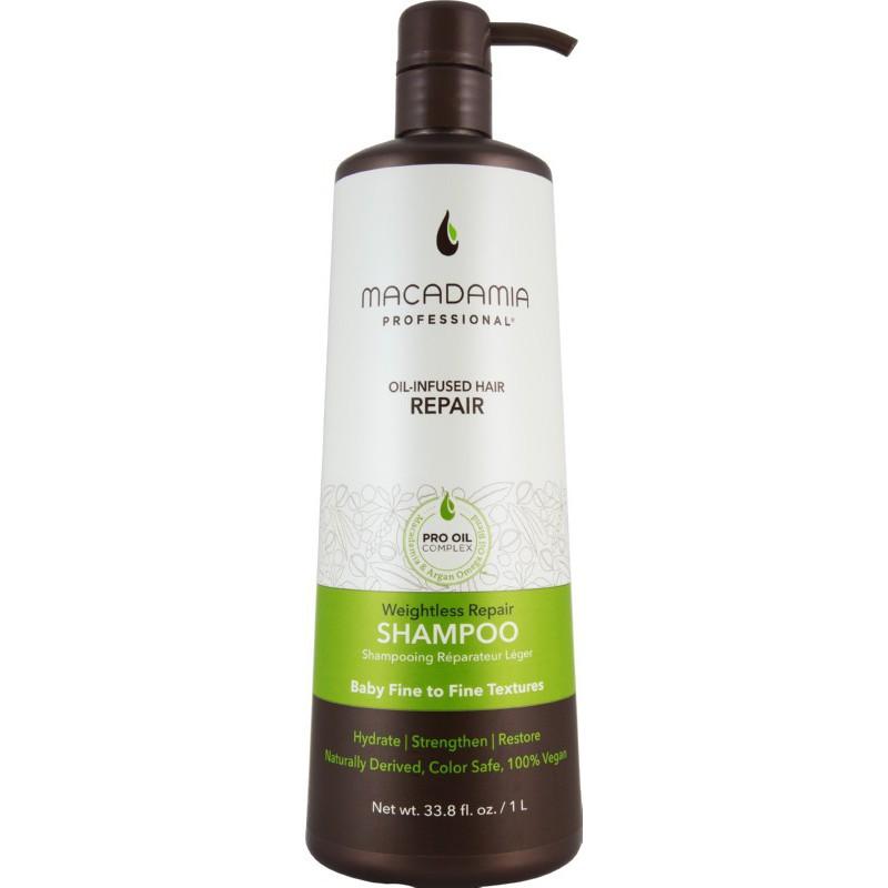 Neapsunkinantis plaukų drėkinamasis šampūnas Macadamia Weightless Repair Shampoo MAM100102, 1000 ml