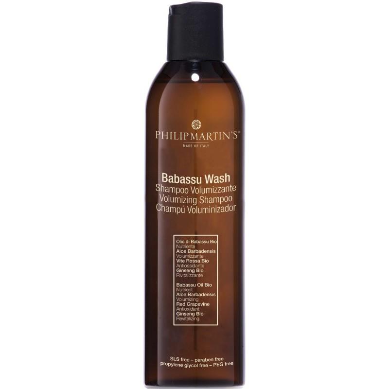 Plaukų apimtį didinantis šampūnas Philip Martin's Babassu Wash PM802, ploniems plaukams 250 ml