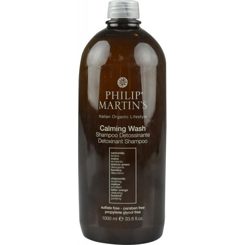 Raminamasis, detoksikuojantis plaukų šampūnas Philip Martin's Calming Wash PM807, mažina pleiskanas ir riebalų perteklių, 1000 ml