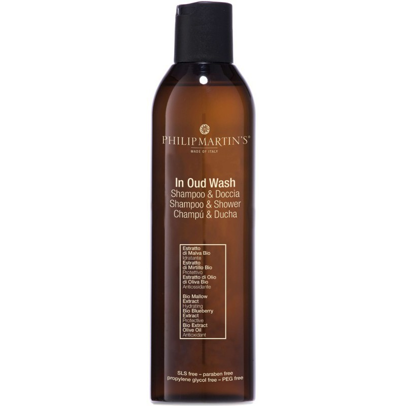 Šampūnas - dušo želė Philip Martin's In Oud Wash PM869, maitina ir drėkina plaukus bei odą, 250 ml