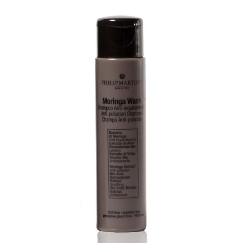 Plaukus valantis šampūnas Philip Martin's Moringa Wash PM930, saugo plaukus nuo neigiamo aplinkos poveikio, 30 ml