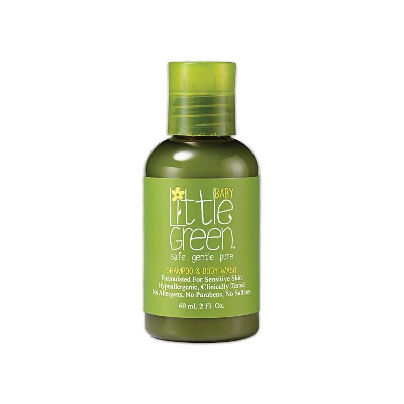Plaukų šampūnas ir kūno prausiklis kūdikiams Little Green Baby Shampoo & Body Wash LGBS2, 60 ml