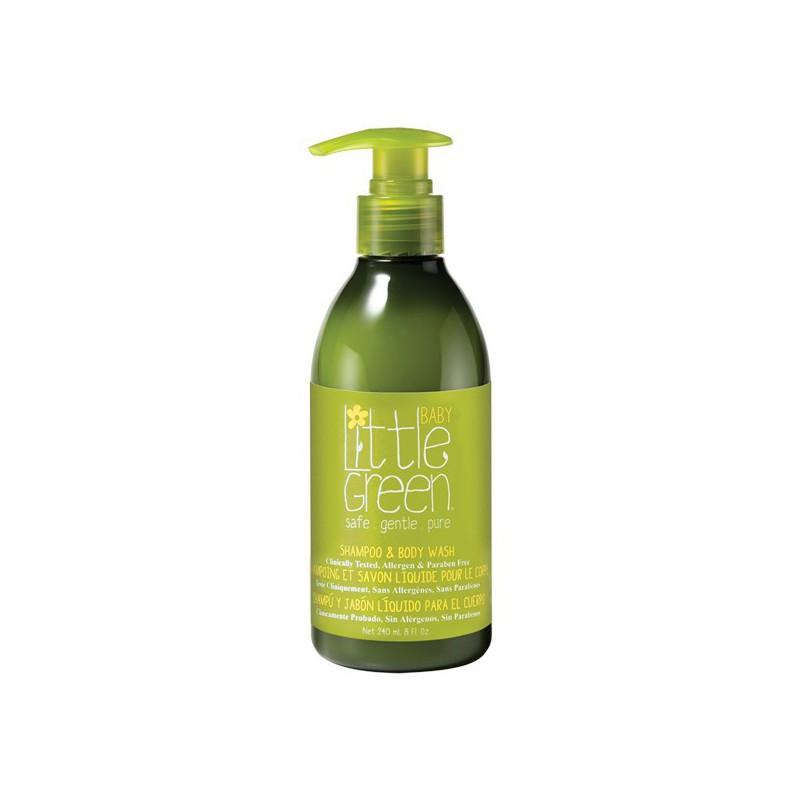 Plaukų šampūnas ir kūno prausiklis kūdikiams Little Green Baby Shampoo & Body Wash LGBS8, 240 ml