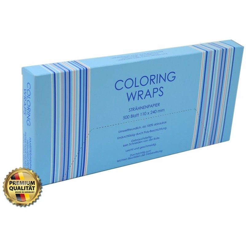 Popierėliai plaukų dažymui Waldschmidt Coloring Wraps WA-D41, 110x240 mm, 500 vnt. dėžutė