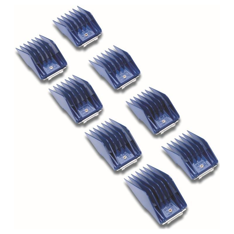 Universalus antgalių rinkinys Andis AN-12990 gyvūnų plaukų kirpimo mašinėlėms su nuimamais peiliukais, 8 vnt.