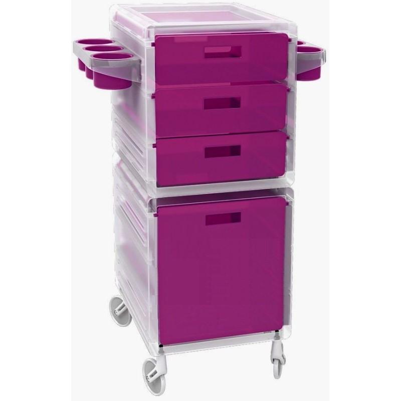 Kirpėjo mobili darbo priemonių spintelė Ceriotti 7218viol, su 3 mobiliais stalčiais, 1 spintele, skaidri-violetinė