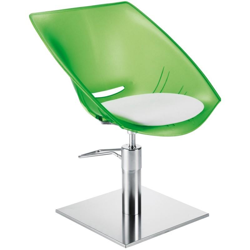 Kliento kėdė Ceriotti Glamour Confort Transparente 406209, salotinė-skaidri su balta sėdima dalimi