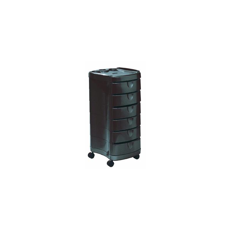 Kirpėjo mobili darbo priemonių spintelė Comair KMS8320051, su 6 mobiliais stalčiais, juodos spalvos