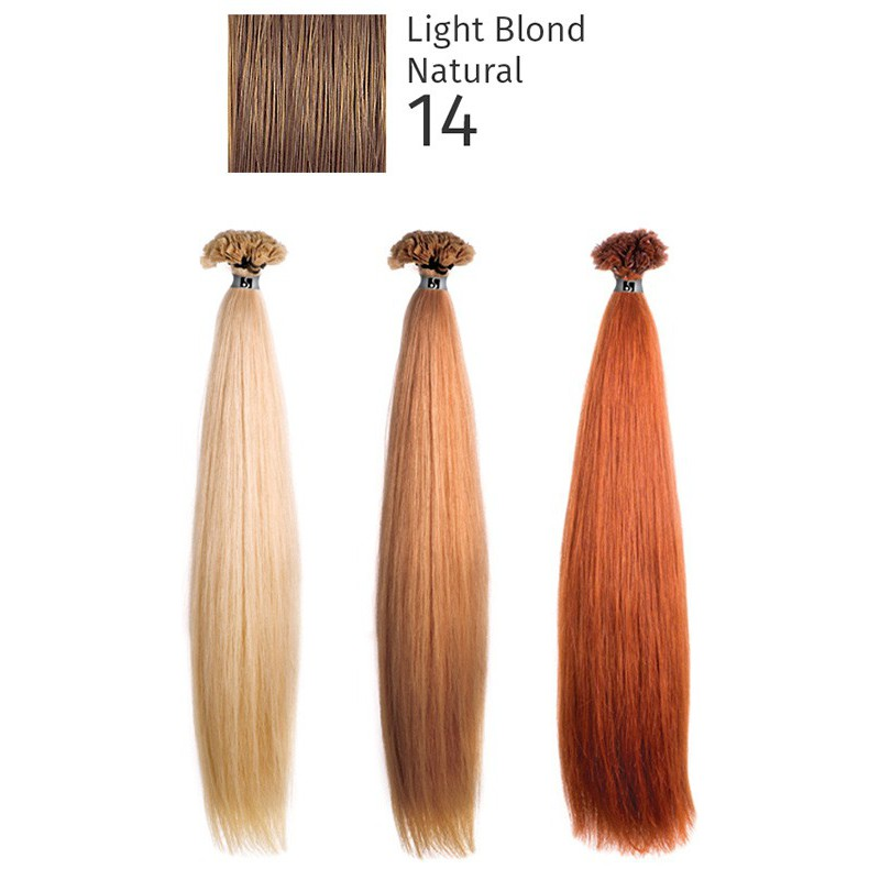 Natūralūs priauginami plaukai keratino kapsulėmis She HEX8000L Locks of natural hair 100% Straight 14 Light Blond Natural, 55/60 cm, 10 vnt.