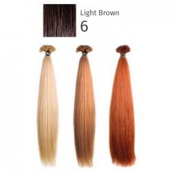 Natūralūs priauginami plaukai keratino kapsulėmis She SHEHEX8011LM6 Locks of natural hair 100% Straight 6 Light Brown, 45/50 cm, 10 vnt.