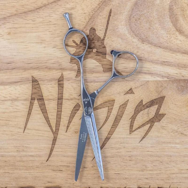 Profesionalios plaukų kirpimo žirklės Ninja Scissors Asahi Cobalt Slicing NIN12027, ilgis 14 cm, dešinei rankai