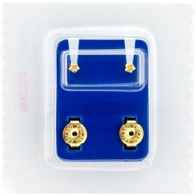 Sterilūs medicininio metalo auskarai Crystal FCS104YM, žvaigždutės formos, auksuoti