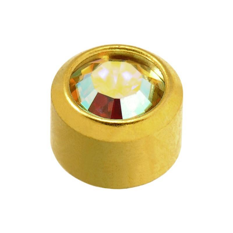 Auskarai Caflon FCSSYB15 su kristalo spalvos akute, apvalūs, auksuoti