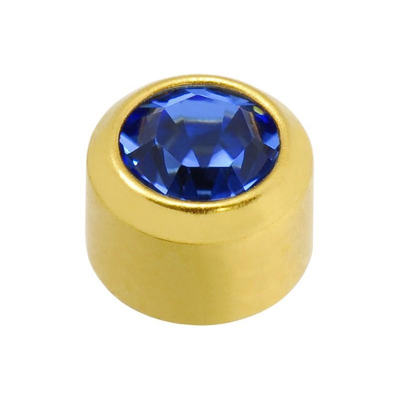 Auskarai Caflon FCSSYB9 su mėlyna akute, apvalūs, auksuoti