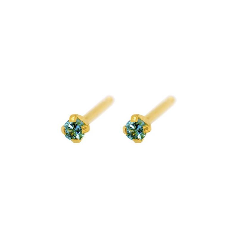 Maži auskarai Caflon FJ203 su žalia akute, apvalūs, auksuoti