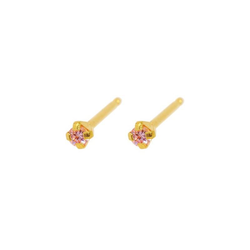 Maži auskarai Caflon FJ2CZP su rausva akute, gėlės formos, auksuoti