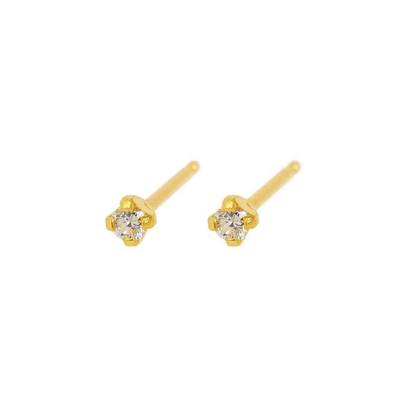 Maži auskarai Caflon FJ2CZW su skaidria akute, gėlės formos, auksuoti