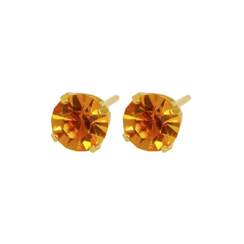 Auskarai Caflon FJ511 su oranžine akute, apvalūs, auksuoti