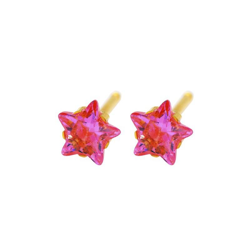Auskarai Caflon FJ5STRP su koralo spalvos akute, žvaigždės formos