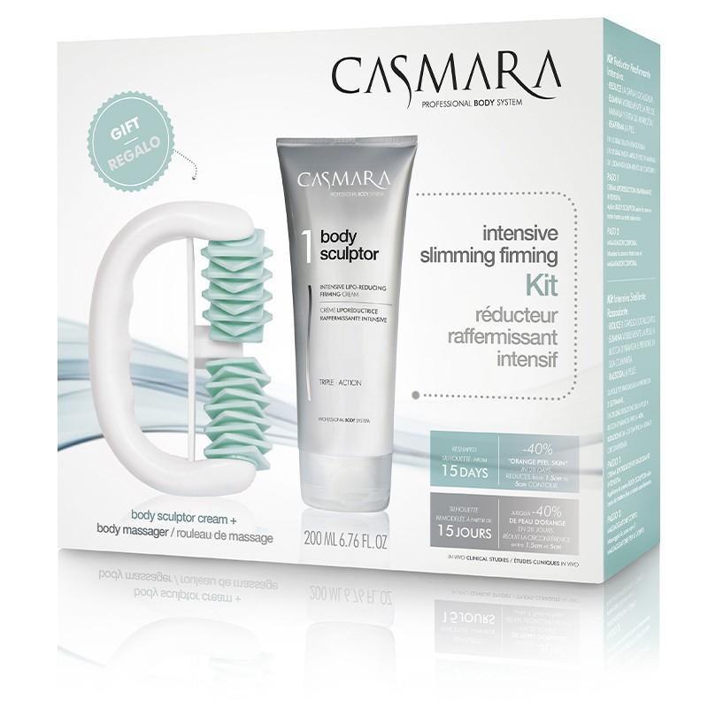 Kūno stangrinimo rinkinys Casmara Body Pack Massager 2020 CASAAL158, rinkinį sudaro masažuoklis, skirtas masažuoti problematiškas kūno vietas, ir stangrinamasis kūno kremas, 200 ml