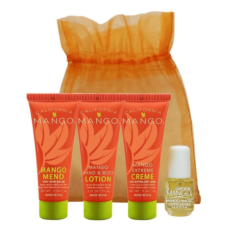 Mini kūno priežiūros rinkinys California Mango Essential Trial Bag CMMEU. Rinkinį sudaro: kūno balzamas ypač sausai odai 14 g., rankų ir kūno losjonas 15 ml., kūno kremas ypač sausai odai 14 g., odelių aliejus 3,7 ml. ir organzos maišelis.