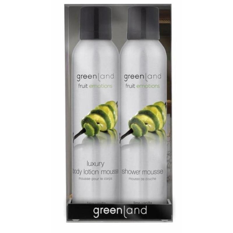 Kūno priežiūros priemonių rinkinys Greenland Gift Pack Lime - Vanilla, GRLFE0174, rinkinį sudaro: prausimosi putos, 200 ml ir purškiamas kūno losjonas-putos, 200 ml, žaliųjų citrinų - vanilės kvapo