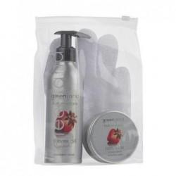 Kūno priežiūros priemonių rinkinys Greenland Gift Box Strawberry-Anise  rinkinį sudaro: kūno prausiklis, 200 ml, kūno odos sviestas 120 ml, šveitimo pirštinė