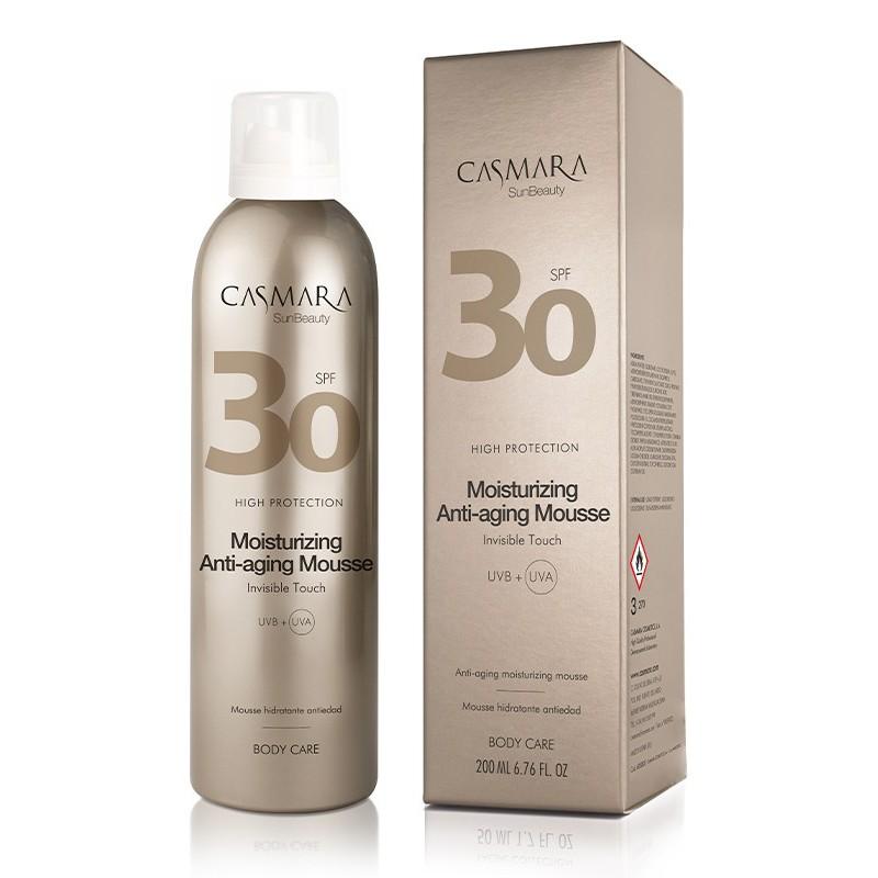 Drėkinančios putos kūnui Casmara Moisturizing Anti - Aging Mousse CASA05003, apsaugo odą saulės vonių metu, padeda išgauti tolygų įdegį, su SPF 30 apsauga, 200ml