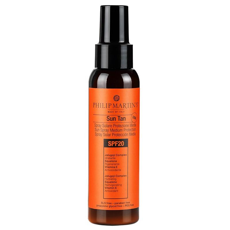 Apsauginis purškiklis nuo saulės kūno odai Philip Martin's Sun Tan Spray PM8080, SPF 20, 100 ml