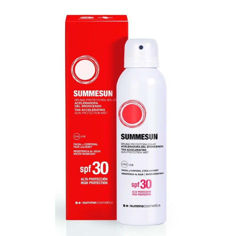 Apsauginė dulksna nuo saulės veido ir  kūno odai Summe Cosmetics SPF30 Sun Protection Mist Tan Accelerating SUMME25003, 200 ml