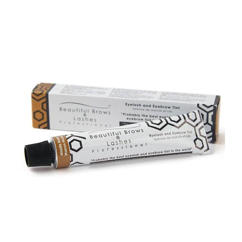 Blakstienų ir antakių dažai Beautiful Brows Lashes Professional Eyelash and Eyebrow Tint BBTNT002, vidutiniškai ruda spalva, 20 ml