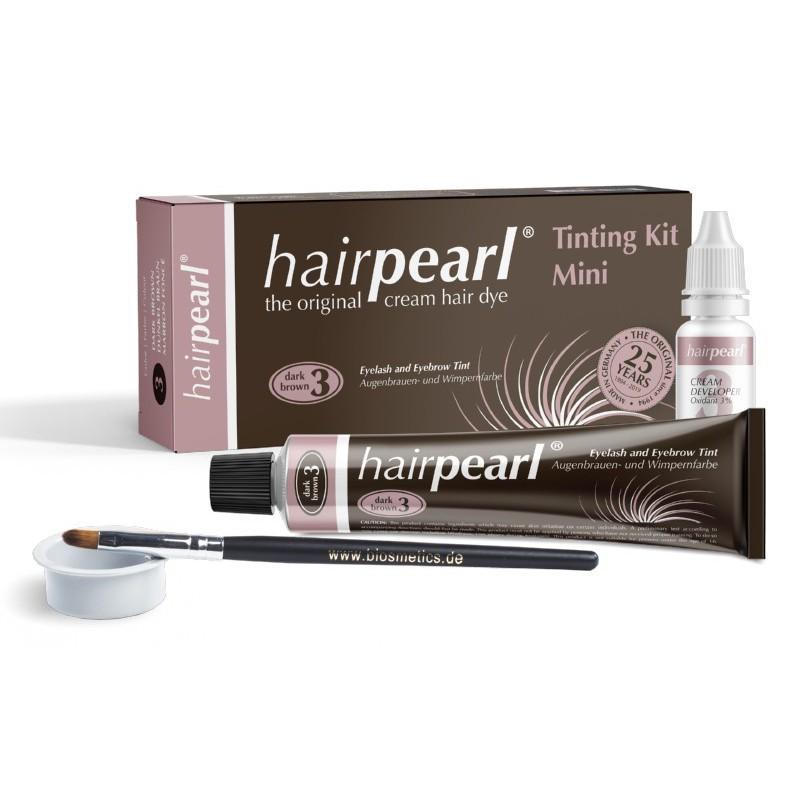 Blakstienų ir antakių dažymo rinkinys Hairpearl Tinting Kit Mini No 3 Dark Brown TKDB003, rinkinį sudaro: nr. 3 antakių dažai, oksidacinė emulsija 3 %, maišymo indelis ir dažymo šepetėlis