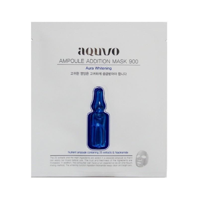 Veido kaukė Aquvo Ampoule Addition Mask 900 Aura Whitening AQUVO01263, skaistina veido odą