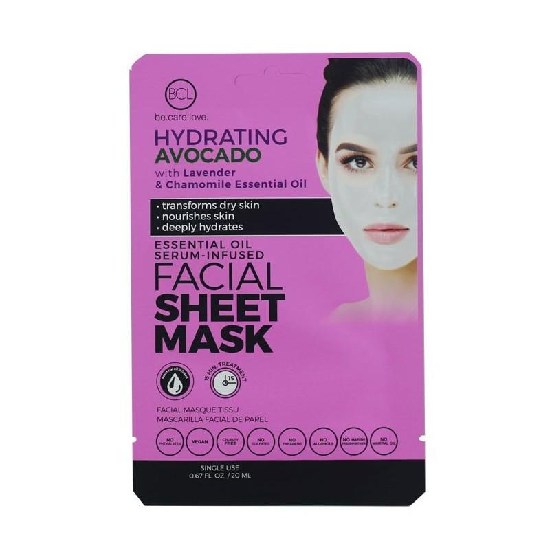 Veido kaukė su eteriniais aliejais BCL Essential Oil Facial Sheet Mask Avocado BCL69962, drėkinanti veido odą, su levandų ir ramunėlių eteriniais aliejais, 20 ml