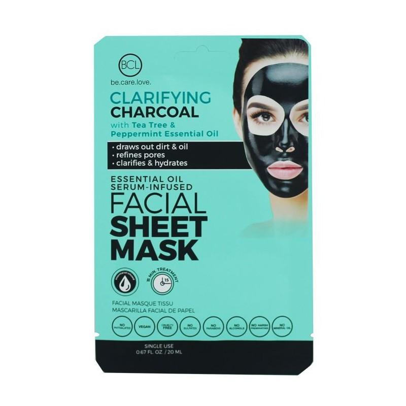 Veido kaukė su eteriniais aliejais BCL Essential Oil Facial Sheet Mask Charcoal BCL69963, valanti veido odą, su arbatmedžio ir pipirmėčių eteriniais aliejais, 20 ml