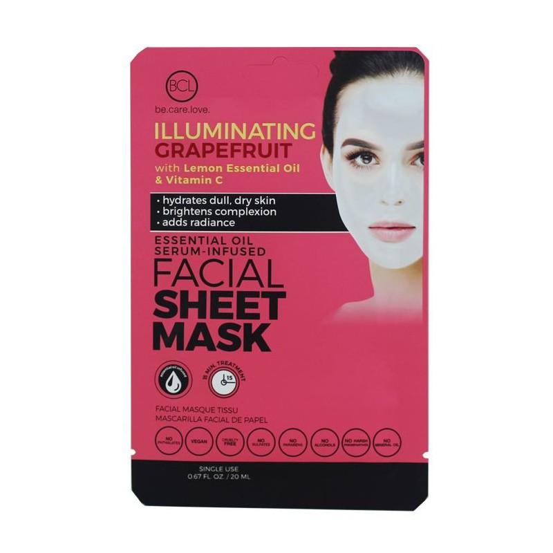 Veido kaukė su eteriniais aliejais BCL Essential Oil Facial Sheet Mask Grapefruit BCL69964, žvilgesio veido odai suteikianti, su citrinų eteriniais aliejais ir Vitaminu C, 20 ml