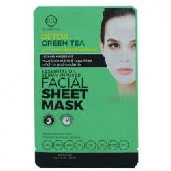Veido kaukė su eteriniais aliejais BCL Essential Oil Facial Sheet Mask Green Tea BCL69965, detoksikuojanti veido odą, su citrinžolių eteriniais aliejais, 20 ml