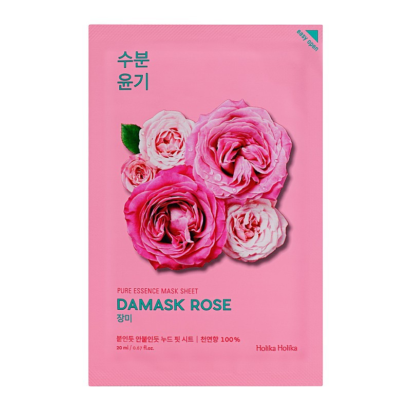 Lakštinė veido kaukė su rožių aliejumi Holika Holika Pure Essence Mask Sheet - Damask Rose HH20010101, šviesina veido odą, 20 ml
