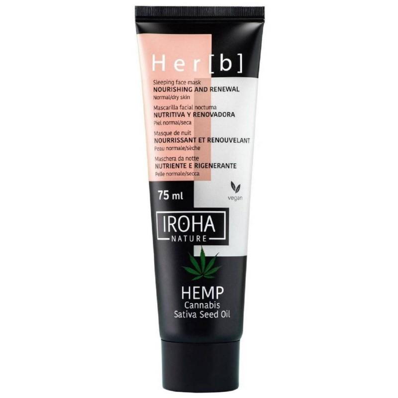 Naktinė veido kaukė Iroha Sleeping Face Mask Cannabis Seed Oil MCIN14, su kanapių sėklų aliejumi, 75 ml