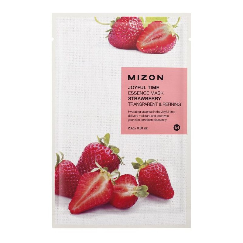 Veido kaukė Mizon Joyful Time Essence Mask Strawberry MIZ888890120, su braškėmis, 23 g