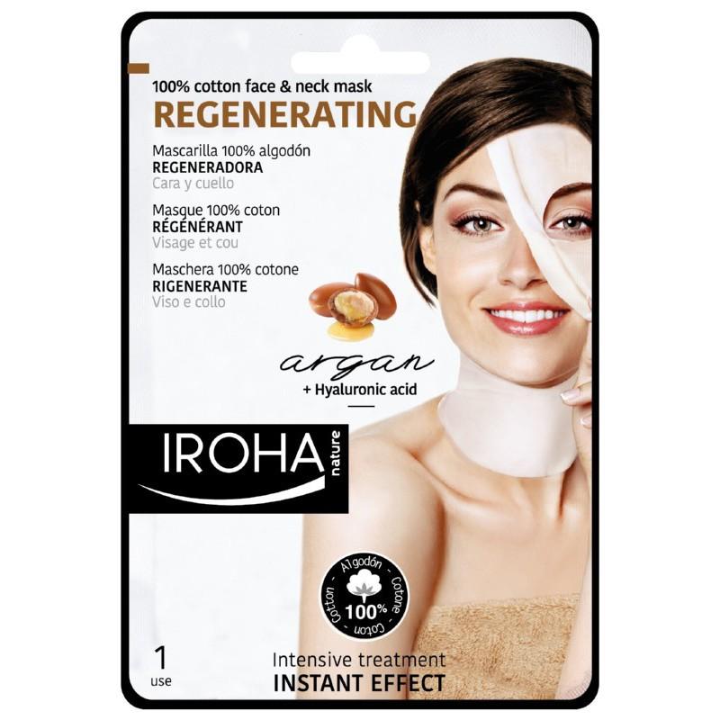 Atstatomoji veido ir kaklo kaukė Iroha Cotton Face and Neck Mask Argan MTIN11 su arganu ir hialuronu, 100 % medvilnė, 23 ml.