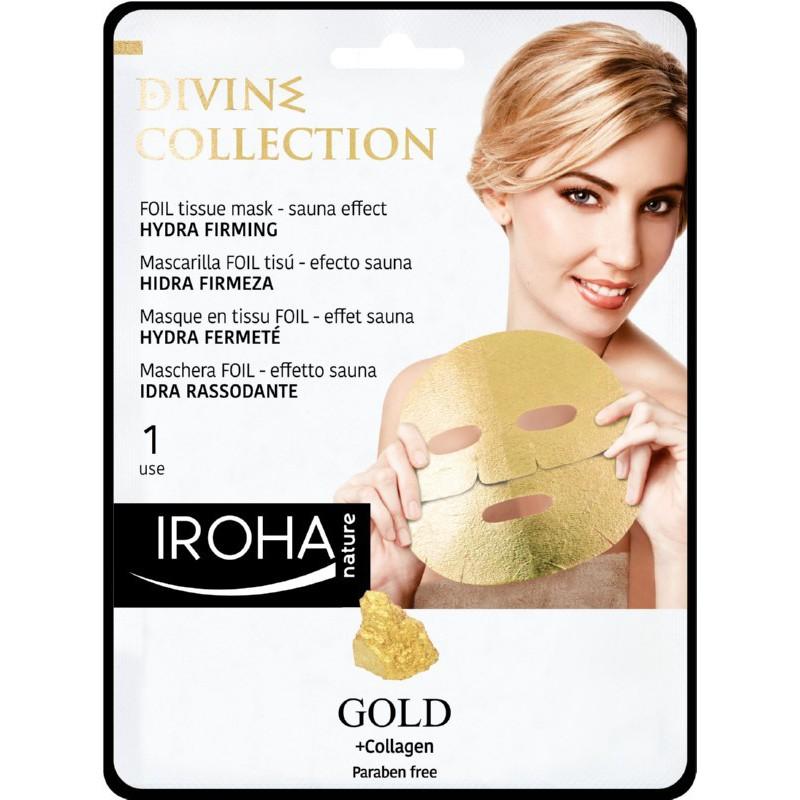 Stangrinamoji veido kaukė Iroha Divine Collection FOIL Tissue Mask Hydra Firming MTIN14, su 24K auksu ir kolagenu, 25 ml