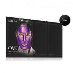 Veido kaukių rinkinys OMG! Platinum OMG-PM-PP,rinkinį sudaro:detoksikuojanti ir nuplėšiama veido kaukės ir serumu praturtintas padelis