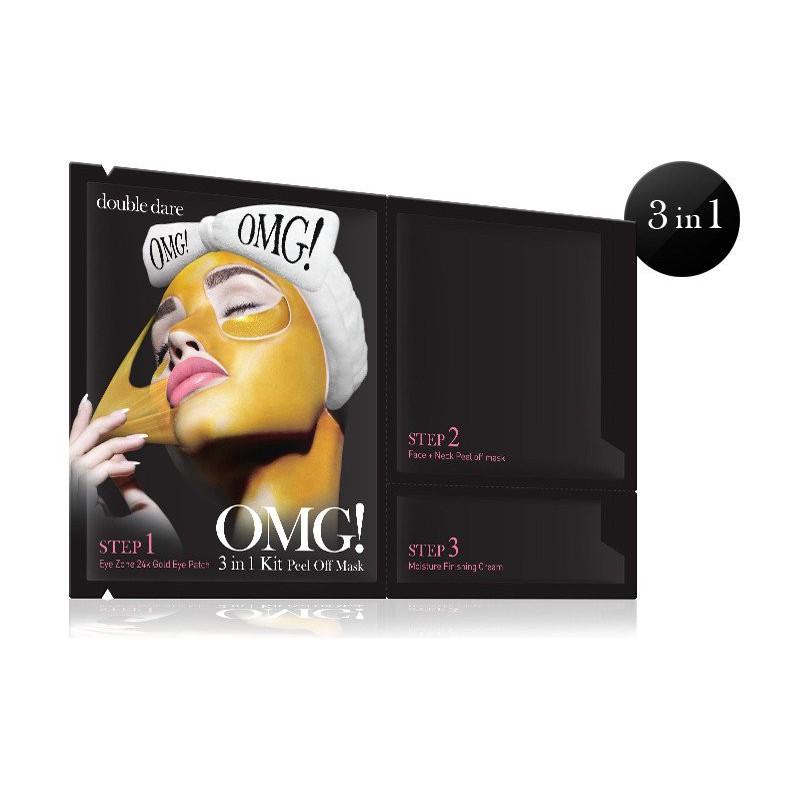 Veido priežiūros priemonių rinkinys OMG! 3IN1 OMG-PMASK,rink.sudaro:paakių pagalvėlės,valomoji veido bei kaklo kaukė, odą drėkinantis kremas