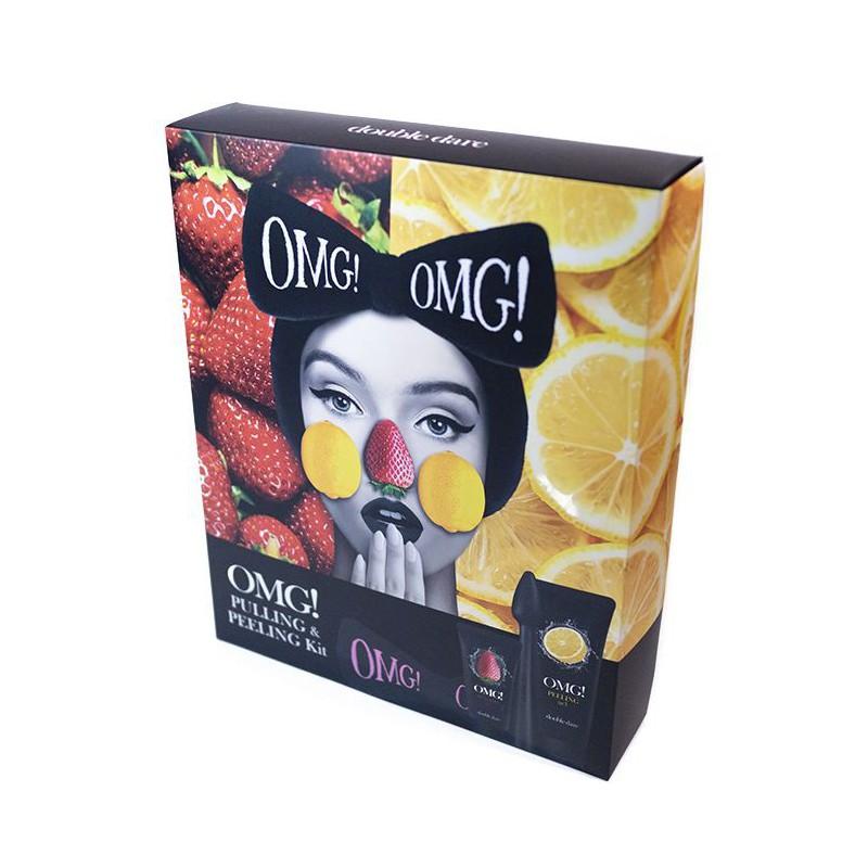 Veido priežiūros priemonių rinkinys OMGGIFTSET, rinkinį sudaro: gelis užsikimšusioms veido odos poroms valyti, 30 g, veido odos šveitiklis,100 g, galvos juosta - kaspinas ir silikoninis veido valymo šepetėlis