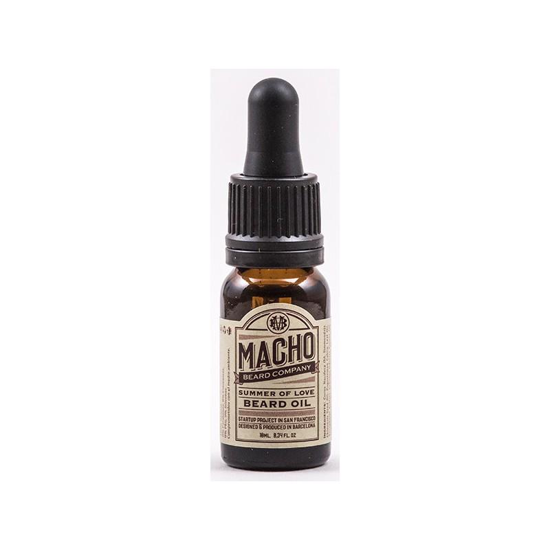 Barzdos plaukų ir odos aliejus MACHO Summer Of Love Beard Oil MACH39104, drėkinantis ir maitinantis barzdos plaukus bei odą, su natūraliais eteriniais aliejais, 10 ml