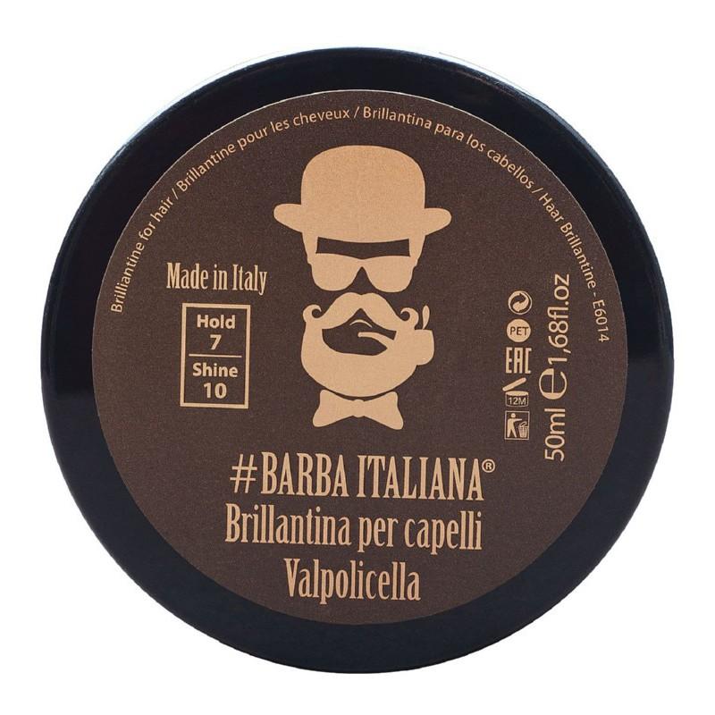 Plaukų formavimo gelis Barba Italiana Briliantine For Hair Valpolicella, BI7000S, suteikiantis šlapių plaukų efektą, 50 ml