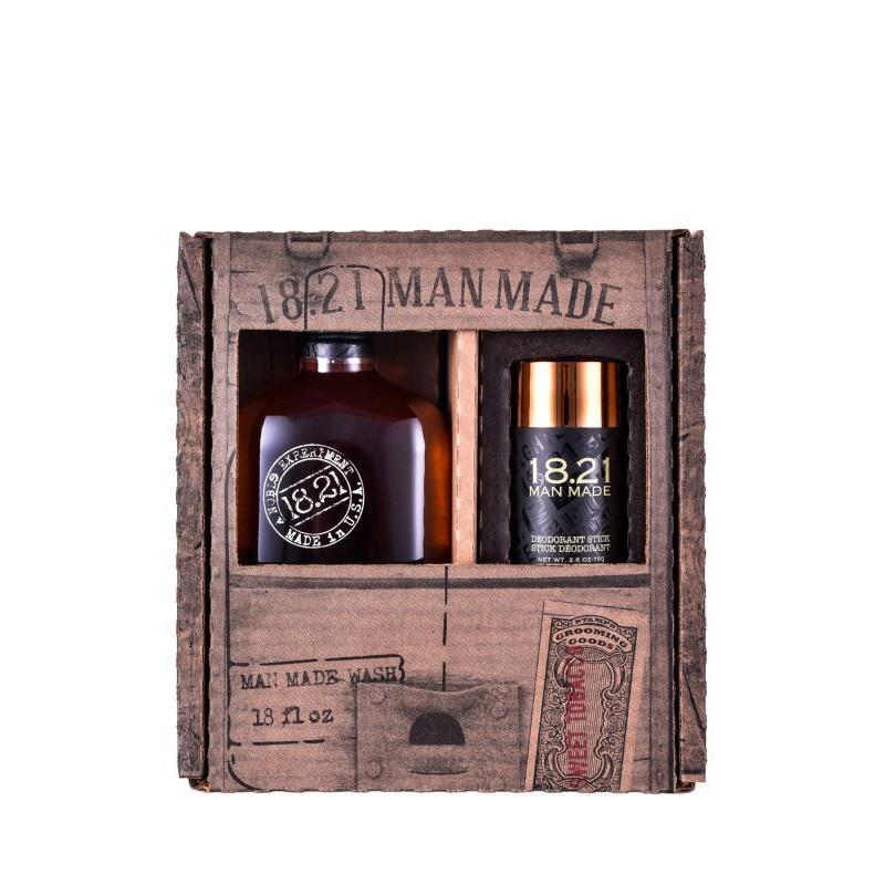 Plaukų ir kūno priežiūros priemonių rinkinys vyrams 18.21 Man Made Duo Gift Box KITWSHSTDEO, rinkinį sudaro: daugiafunkcė priemonė vyrams 3 in 1 Sweet Tabacco 530 ml ir pieštukinis dezodorantas Sweet Tabacco 75 g
