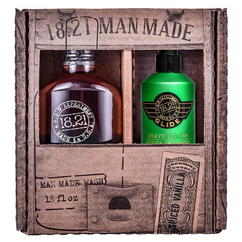 Plaukų ir kūno priežiūros priemonių rinkinys vyrams 18.21 Man Made Duo Gift Box, KITWSHSVGLD, rinkinį sudaro: daugiafunkcė priemonė vyrams 3 in 1 Spiced Vanilla, 530 ml, ir skutimosi priemonė, 177 ml