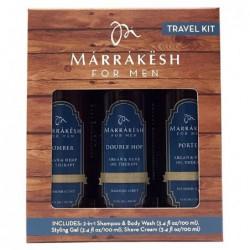 Kelioninis plaukų priežiūros priemonių rinkinys Marrakesh for MenTravel Set MKMT003, rinkinį sudaro: šampūnas ir kūno prausiklis 100 ml, formavimo gelis 100 ml, skutimosi kremas 100 ml
